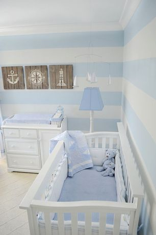 Traditional Kids Bedroom with Carpet, Sailboat mobile, RH wood-plank nautical art, Crown molding