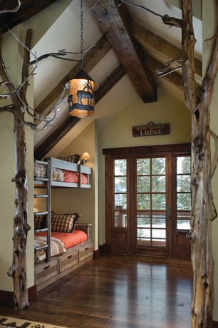 Rustic Guest Bedroom with High ceiling, Paint 1, Pendant light, Stackable wood bunk bed, Exposed beam, Casement, French doors