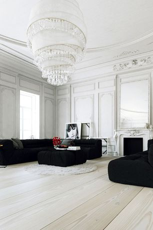 Contemporary Living Room with Chandelier, Crown molding, Safavieh cozy solid ivory shag rug, Hardwood floors, High ceiling