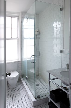Contemporary 3/4 Bathroom with Somertile basket weave white/black porcelain mosaic tile, Complex marble counters