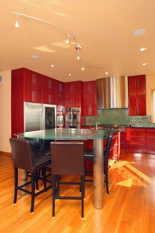 Modern Kitchen with Ceramic Tile, L-shaped, Villa faux leather brown counter stool, Breakfast bar, flush light, Flush