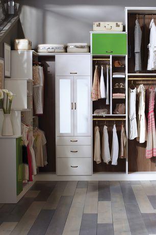 Contemporary Closet with Hardwood floors, Hardware Source Vertical Door Support, Friction Type, Built-in bookshelf
