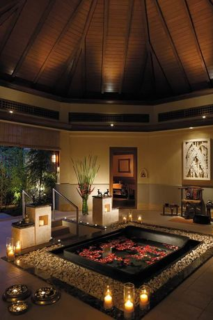 Asian Master Bathroom with Indoor/outdoor living, Bathtub, Deluxe Woven Wood Shades, Standard height, can lights, Resort
