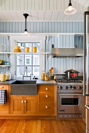 Cottage Kitchen with Viking VVGCC5304BSS Gas Range, Slate counters, Pendant light, Stainless steel vent hood, Slate, L-shaped
