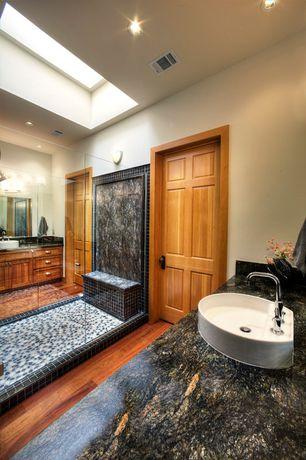 Craftsman Full Bathroom with High ceiling, Hardwood floors, Wall sconce, Skylight, Pental  Cosmic Black Polished Granite