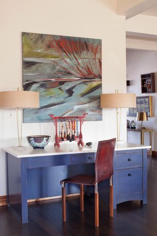Contemporary Home Office with Paint 2, Dalton brass lamp, Built-in bookshelf, Dupont corian designer white, Standard height
