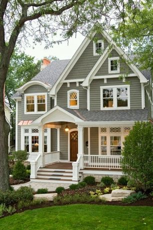 Traditional Porch with Glass panel door, Wrap around porch, Pathway, Bow Window Copper Hoods, Screened porch