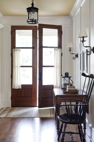Country Entryway with Wainscoting, Crown molding, flush light, Northern red oak - cocoa bean 3 in. engineered hardwood plank