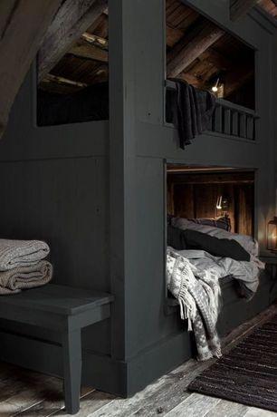 Rustic Guest Bedroom with Surya Rugs Tobias Grey 51 x 71 Throw, Eclipse Grey 70-Inch Throw Blanket, Hardwood floors