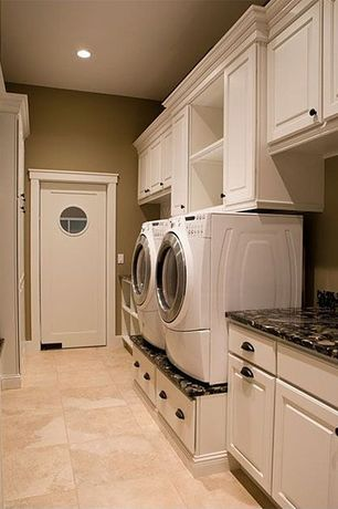 Traditional Laundry Room with Built-in bookshelf, Oregon Tile & Marble Granite in Brown Antico, Undermount sink