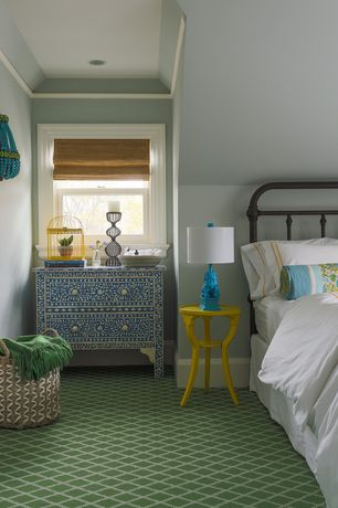 Cottage Guest Bedroom with Kathy Kuo Turquoise Beaded Hollywood Regency Glamorous Blue Sconce, Carpet, High ceiling