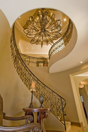 Mediterranean Staircase with Decorative iron railing, Chandelier, Paint 1, Loft, Quoizel marquette 3-tier chandelier
