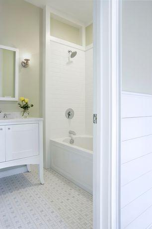 "Traditional Full Bathroom with Kenroy Home Riley 1-Light Chrome Wall Sconce, Stufurhome Alyssa 36"" Bathroom Vanity Set"