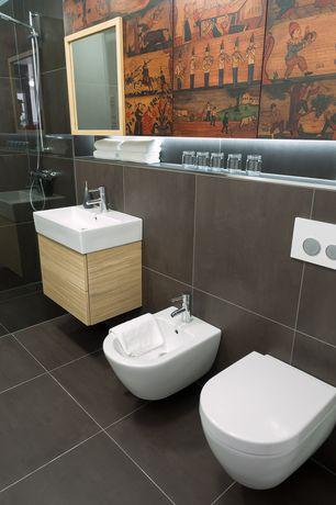 Modern Master Bathroom with Master bathroom, Wall Tiles, Vessel sink, Mural, Standard height, Shower, slate tile floors