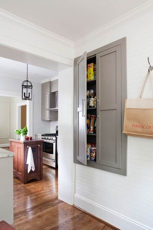 Contemporary Pantry with Hardwood floors, Filament Design Providence 4-Light Black Incandescent Pendant, Crown molding