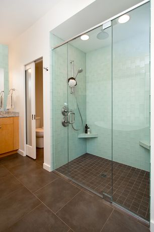 Contemporary Master Bathroom with Tilebar loft seafoam frosted 3x6 glass tiles, Complex granite counters, Master bathroom