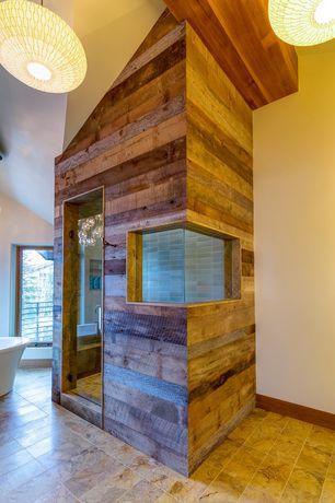 Rustic Master Bathroom with Wine Cellar Innovation Mahogany Wood Paneling