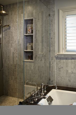Contemporary Master Bathroom with Ocean Gray Glass 3x6 Subway Tile, Tile Bar Brushed Stone White Carrera 2x8 Marble Tile