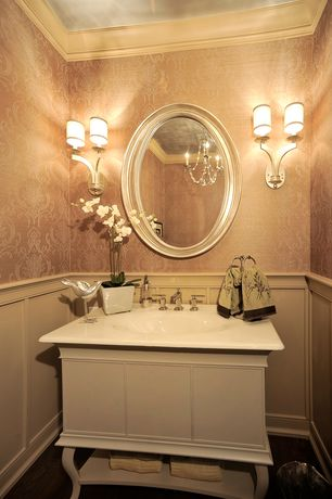 Traditional Powder Room with Paint, Vanity, Crown molding, Damask wallpaper, Uttermost - franklin oval, silver mirror