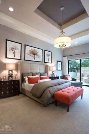 Contemporary Master Bedroom with Steven N. Meyers Parrot Tulips I, Pendant light, Taylor Linens Charleston Duvet Cover