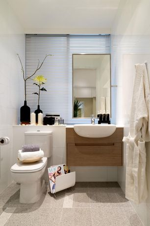 Contemporary Powder Room with Statements white wall tile - white gloss, Undermount bathroom sink, Standard height, Flush