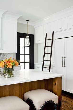 Contemporary Kitchen with Paint, Crown molding, Built In Panel Ready Refrigerator, Black door, Kitchen island, Pendant light