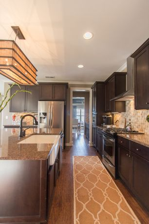 Contemporary Kitchen with Galley, Ms international  santa barbara granite, Flat panel cabinets, Ceramic Tile, Pendant light