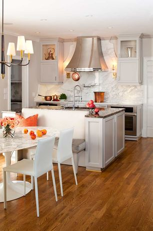Contemporary Kitchen with Undermount sink, Complex Marble, Kitchen island, Pendant light, Complex marble counters, Galley