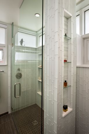 Modern Master Bathroom with specialty tile floors, Rocky point tile snow white linear glass mosaic tile, High ceiling