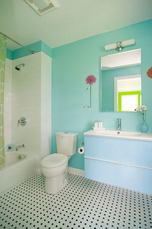 Kids Bathroom with Ikea ODENSVIK Sink, 1 bowl, U.S. Ceramic Bright Snow White 4-1/4 in. x 4-1/4 in. Ceramic Wall Tile