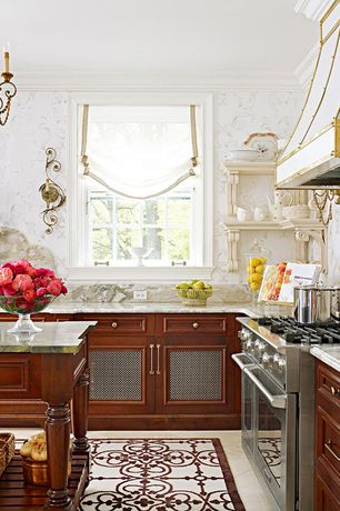 Traditional Kitchen with Custom hood, Ms international - onyx jade, L-shaped, Strap hood, Austrian shade, Chandelier, Onyx