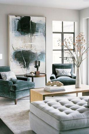 Contemporary Living Room with Standard height, Casement, Hardwood floors