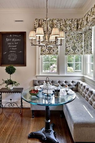 Country Dining Room with Hudson valley lighting charlotte 6 light chandelier, Crown molding, Bernhardt end table, Chandelier