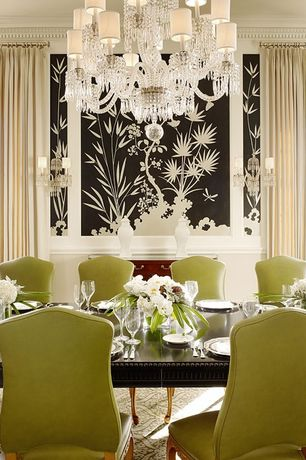 Traditional Dining Room with Carrington court direct split camel back queen anne dining chair, Cole & son palm wallpaper