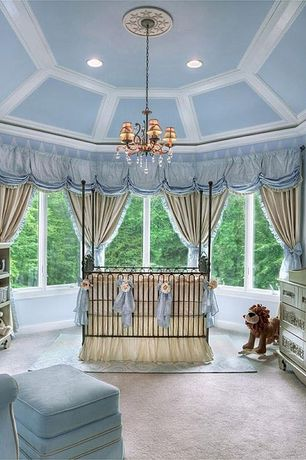 Traditional Kids Bedroom with can lights, High ceiling, Chandelier, no bedroom feature, Paint 2, Box ceiling, Casement, Mural