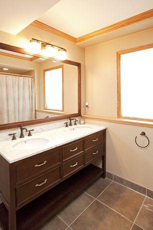Craftsman Master Bathroom with Standard height, Inset cabinets, Ms international calacatta lasa marble, Undermount sink