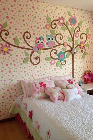 Contemporary Kids Bedroom with interior wallpaper, Hardwood floors