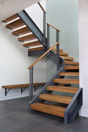 Contemporary Staircase with Paint 2, High ceiling, curved staircase, Paint, Hardwood floors