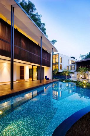 Contemporary Swimming Pool with Deck Railing, Other Pool Type, Casement, Glass panel door