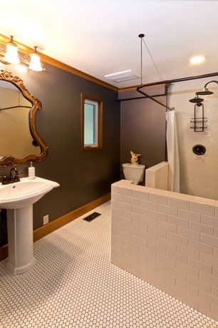Traditional 3/4 Bathroom with Somertile victorian hex matte white porcelain mosaic tiles (pack of 10), penny tile floors