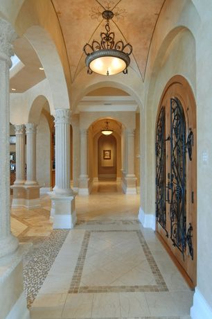 Mediterranean Hallway with French doors, Columns, Madeline 3 Light Inverted Pendant, Crown molding, Cathedral ceiling
