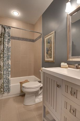 Cottage Full Bathroom with Flush, wall-mounted above mirror bathroom light, Bathtub, Flat panel cabinets, flush light, Shower