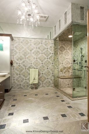 Modern Master Bathroom with Dainolite 20 light crystal chandelier