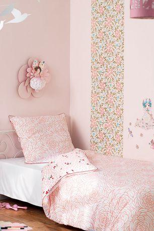 Traditional Kids Bedroom with Adrian Twin Metal Platform Bed, Mural, Djeco Mobile Katsumi Komagata's White Birds