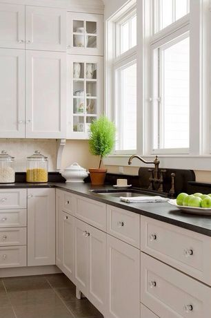 """Traditional Kitchen with Emtek pewter old town 1"""" clear crystal cabinet knob with solid brass rosette, travertine tile floors"""