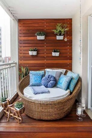 Contemporary Deck with Kannoa Hallo Daybed with Canopy, Raised beds, Wall garden