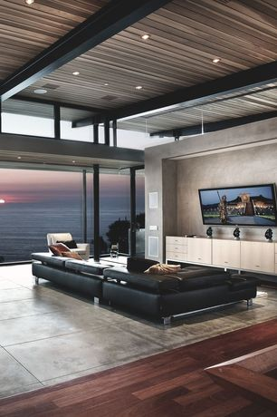 Contemporary Living Room with Exposed beam, Concrete tile , Sunpan Modern Temple Sideboard in Oak, High ceiling
