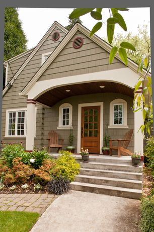 Craftsman Front Door with exterior brick floors, Paint 3, Pathway, Paint 2, specialty window, Vista adirondack chair, Paint 1