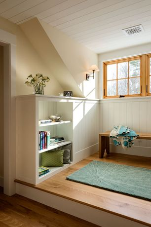 Cottage Attic with A & L Furniture Yellow Pine Traditional Bench, Dainolite DMWL800 Wall Lamp