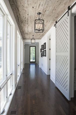 Country Hallway with Chandelier, Simple Mini Pagoda Lantern, specialty door, Hardwood floors, French doors